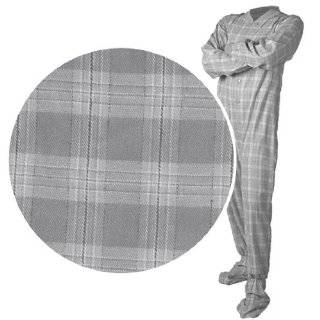 Big Feet PJs Gray Plaid Flannel Pajamas for Men and Women