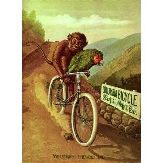MONKEY PARROT RIDING A COLUMBIA BICYCLE BIKE CYCLES LARGE