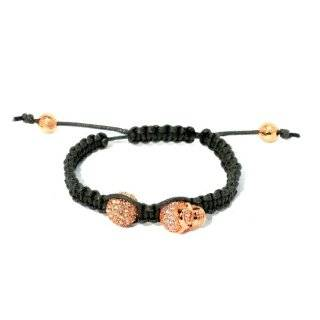 Shamballa Bracelet with Sterling Silver CZ Rose Gold Plated Skull with