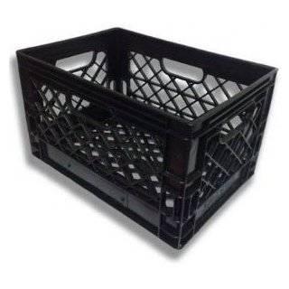19x13x11 6 Gallon 24 Quart Rectangular Dairy Milk Crate (BLACK