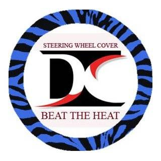 Blue and black zebra steering wheel cover, seat belt covers and rear