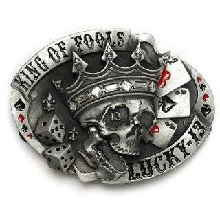 Lucky 13 King Of Fools Belt Buckle Skull Crown with Crystals