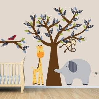 , Giraffe, Elephant, Tree Wall Decal for Baby Nursery or Kids Room