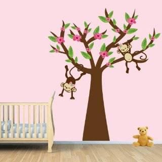 Girl Monkey / Tree Wall Decal for Baby Nursery or Kids Room