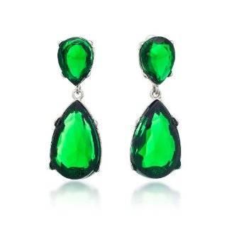 Kenneth Jay Lane Earrings   Teardrop Faux Emerald Green Crystal