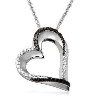 White Diamond Heart Pendant (1/3 cttw, I J Color, I2 I3 Clarity), 18