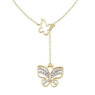 Gold Plated Sterling Silver Diamond Accent Butterfly Y Necklace, 17