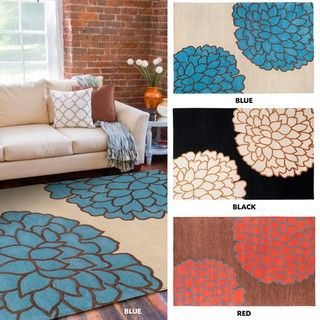 Hand tufted Contemporary /Blue Glacier New Zealand Wool Abstract Rug