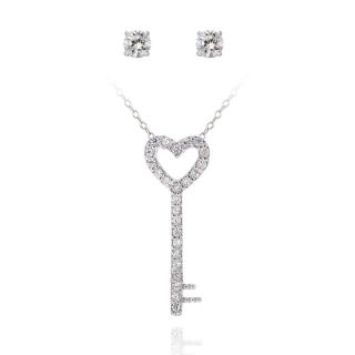 Icz Stonez Silver Cubic Zirconia Heart Key Jewelry Set (1 1/5ct TGW