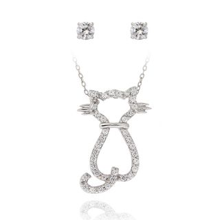 Icz Stonez Sterling Silver Cubic Zirconia Cat Jewelry Set (1 3/8ct TGW