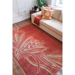 Hand tufted Red Mahal New Zealand Wool Rug (8 x 11)