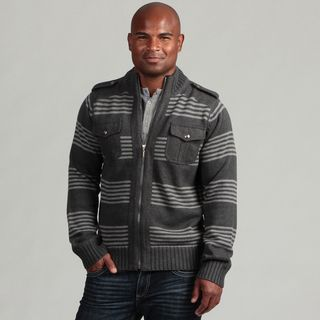 XRay Jeans Mens Dark Grey Striped Wool Blend Sweater