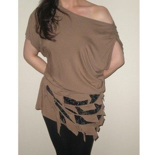 Arty Womens Taupe Off the Shoulder Cutout Top