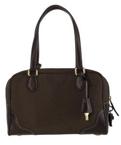 Prada Dark Brown Logo Jacquard Canvas Satchel