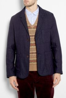 Universal Works  Indigo Japanese Herringbone Suit Blazer by Universal Works