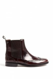 Burberry Shoes & Accessories  Bordeaux Gwendoline Flat Brogue Chelsea Boots by Burberry Shoes & Accessories