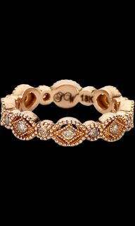 Sara Weinstock Diamond & Rose Gold French Lace Marquis Ring