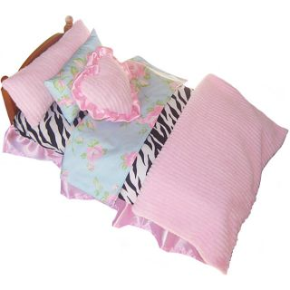 Girl Dolls 7 piece Zebra and Floral Doll Bedding Set