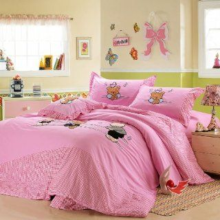 Girls Bedding Sets, Twin/Full Queen Size Bed Set, 4Pcs (TWIN/FULL