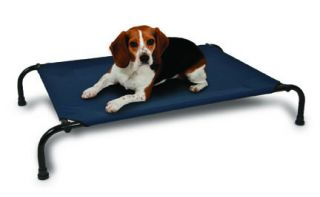 Aspen Pet Elevated Pet Bed, 35 Inch by 25 Inch, Medium, Blue Fabric