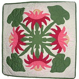 Hawaiian Pink Lotus Flowers Hand Quilted Pillow Cover 16
