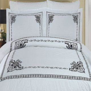Black and White Medallion Framed Bedding Duver Cover Set King Size