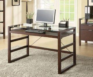 Contemporary Espresso Finish Glass Top Desk by Coaster