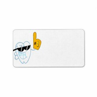 Smiling Tooth Cartoon Character Number One Custom Address Labels