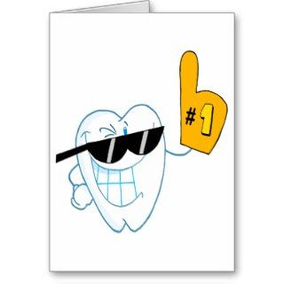 Smiling Tooth Cartoon Character Number One Greeting Cards