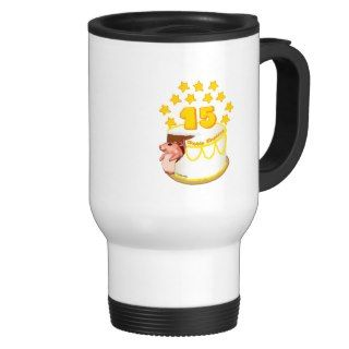 15 Year Old Birthday Cake Mouse Coffee Mug