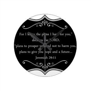 Jeremiah 29:11 Custom Christian Gift Round Clocks