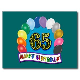 Happy 65th Birthday with Balloons Post Card
