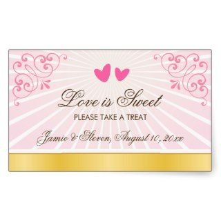 Pink and gold romantic hearts candy buffet wedding sticker