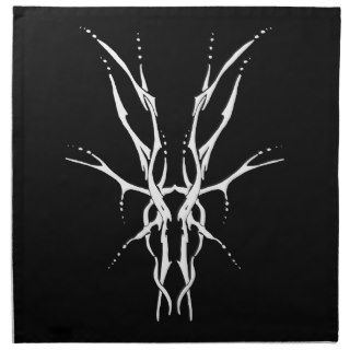 Deer Skull Tribal Tattoo   white on black Napkin