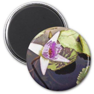 Purple Lotus Flower Drawing Fridge Magnets