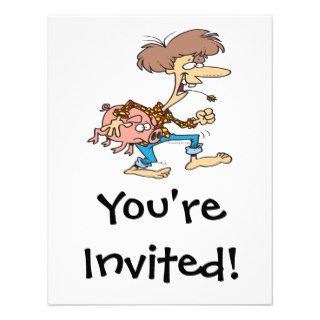 funny hillbilly redneck with pig cartoon custom invites