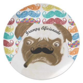 Mr. Mustache Hipster Grumpy AFICIONADO Puggy Cigar Party Plates