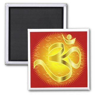 Aum or Om Symbol in yellows & reds Magnets
