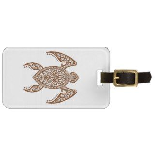 Intricate Brown Sea Turtle on White Bag Tag