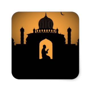 Islamic graphic  Man praying Square Stickers