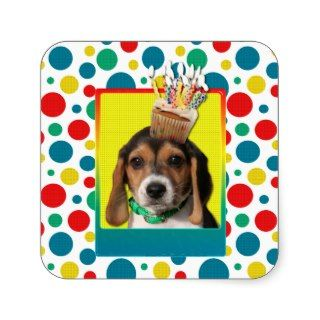 Birthday Cupcake   Beagle Puppy   Chloe Stickers