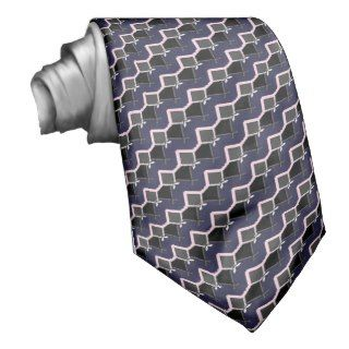 Blue Pink Gray Diagonal Abstract Tie