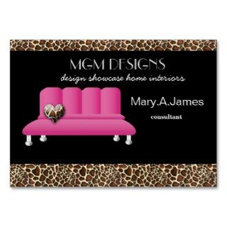 leopard print pink sofa trendy interior decorator business cards