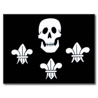 JOLLY ROGER SKULL AND THREE LILIES FLAG POSTCARDS