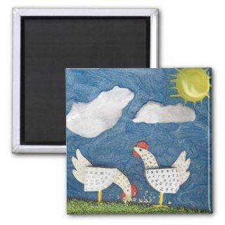 Chickens in the Yard   diorama picture Refrigerator Magnet