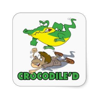 crocodile stomping on hunter cartoon square sticker