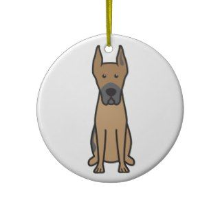 Great Dane Dog Cartoon Christmas Ornament