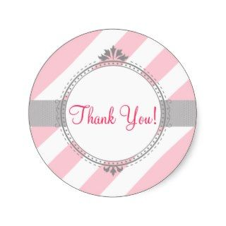 Thank You Stickers, Baby Shower, pink, gray   774