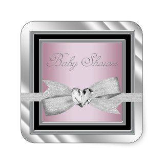 Elegant Silver Pink Black Baby Shower Stickers