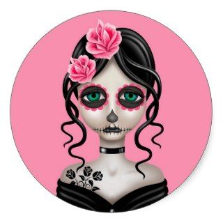 Sad Day of the Dead Girl on Pink Stickers